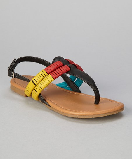 Black Tri-Color Coil Ellie Sandal