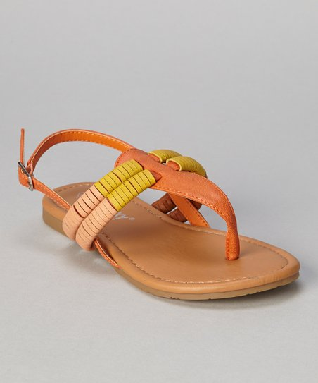 Orange Tri-Color Coil Ellie Sandal