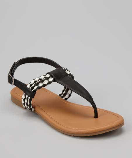 Black Braid Ellie T-Strap Sandal