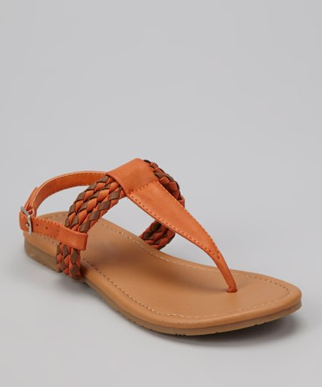 Orange Braid Ellie T-Strap Sandal