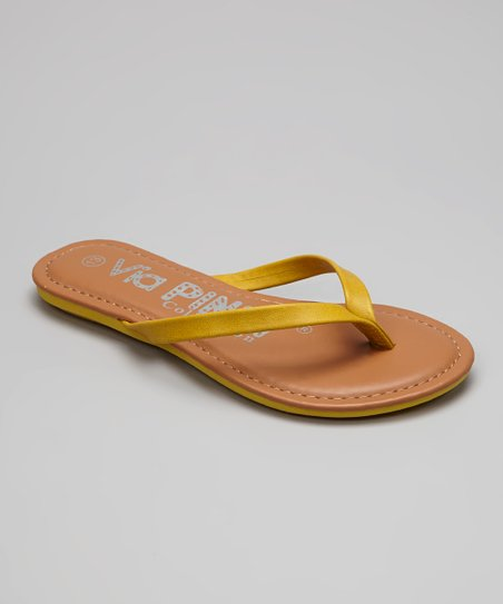 Yellow & Tan Flip-Flop
