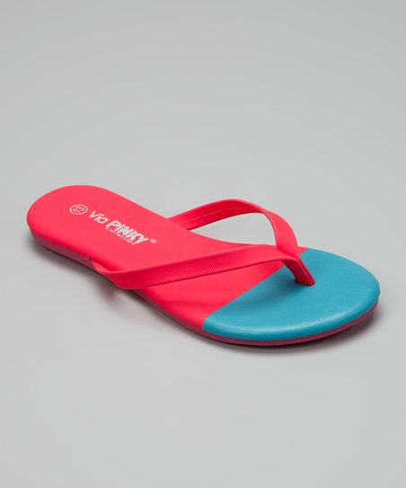 Coral & Blue Color Block Flip-Flop