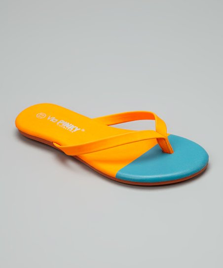 Orange & Blue Color Block Flip-Flop