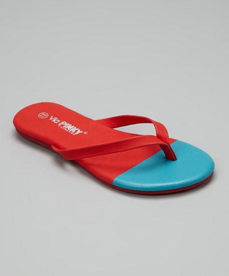 Red & Blue Color Block Flip-Flop