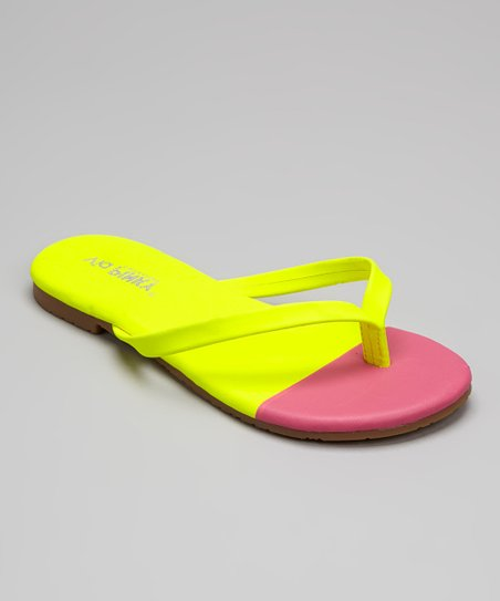 Yellow & Pink Color Block Flip-Flop