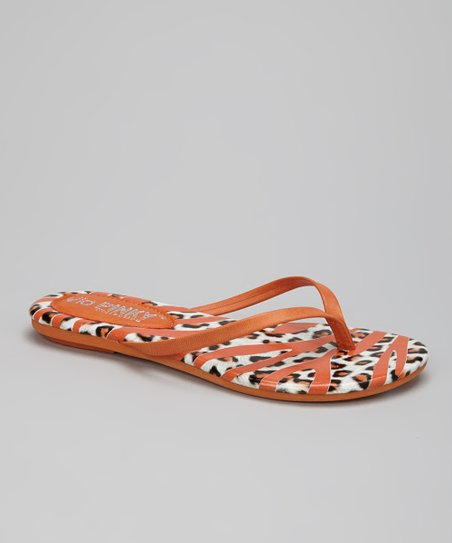 Orange Safari Stripe Flip-Flop
