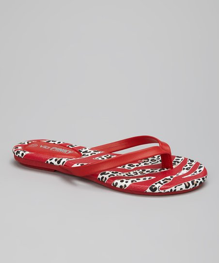 Red Safari Stripe Flip-Flop