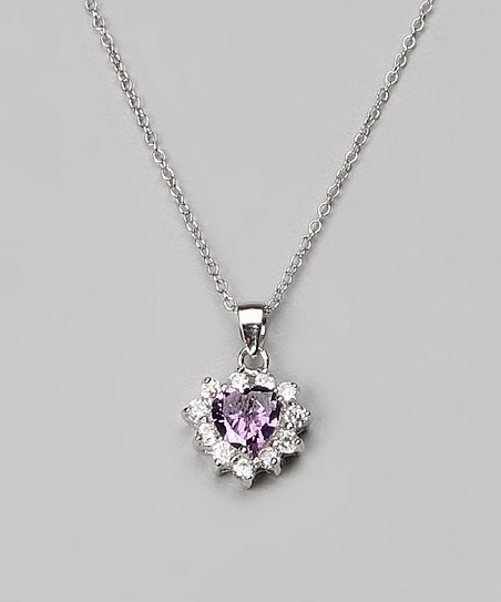 Sterling Silver & Amethyst Heart Pendant Necklace
