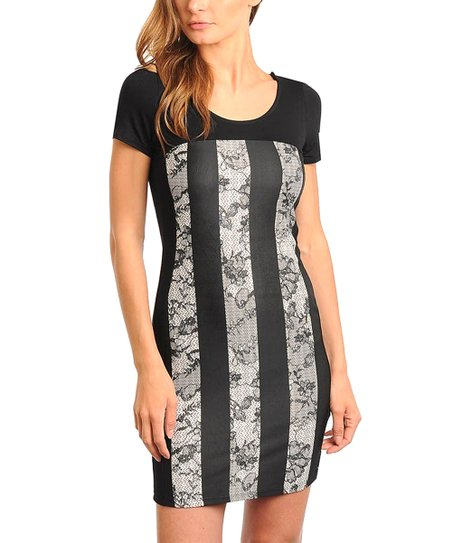 Black & White Stripe Lace Panel Dress