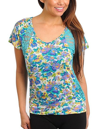 Turquoise Floral Lace Panel Top - Women