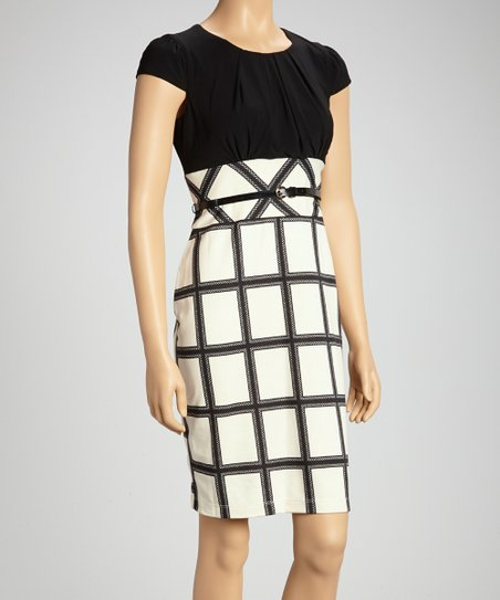 Black & Ivory Lattice Belted Empire-Waist Dress