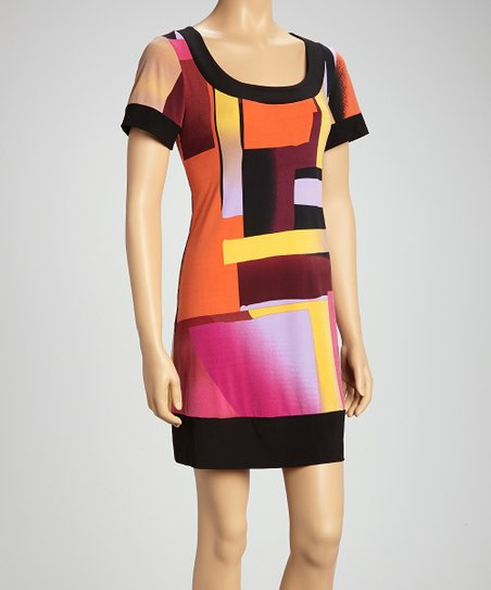 Orange & Pink Mod Jersey Shift Dress