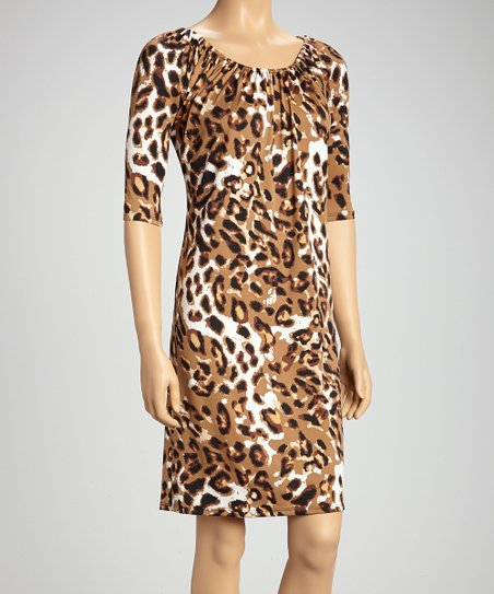 Leopard Ruched Three-Quarter Sleeve Dress