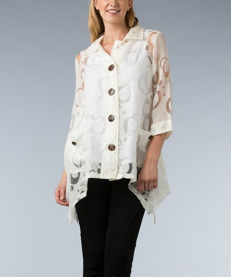 Off-White Circle Burnout Handkerchief Button-Up - Women