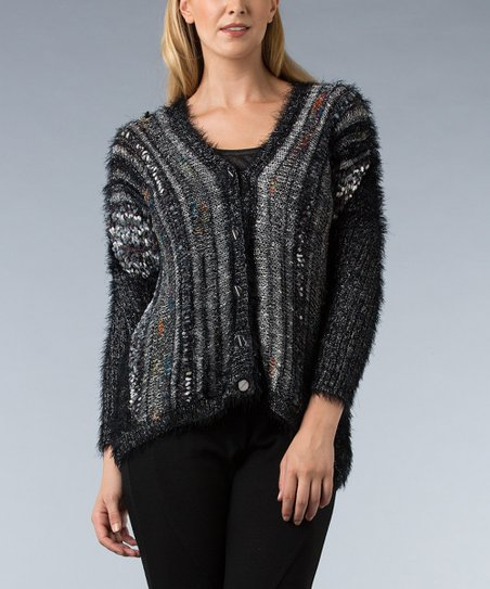 Black Metallic V-Neck Cardigan