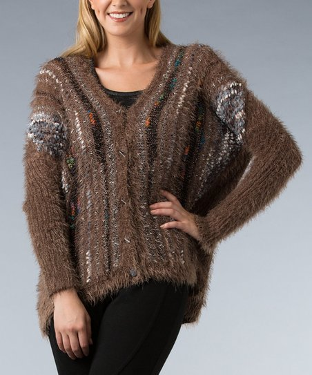 Brown V-Neck Cardigan