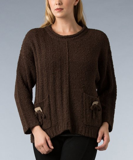 Brown Double-Pocket Sweater - Women