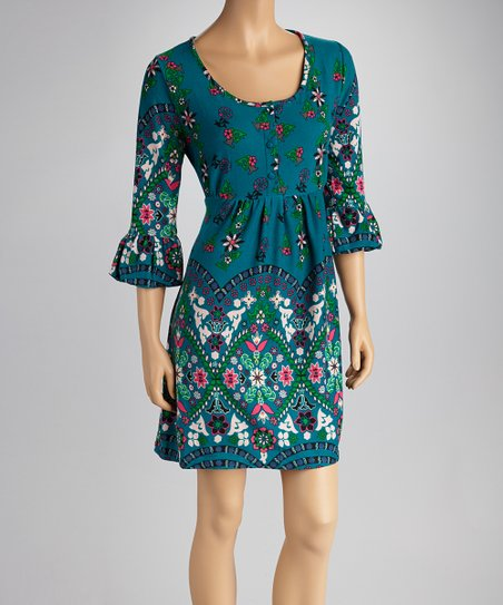 Teal Bell-Sleeve Dress