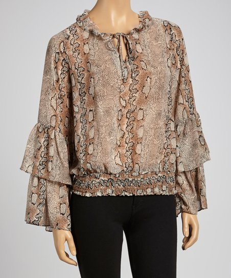 Taupe & Black Snake Shirred-Waist Peasant Top