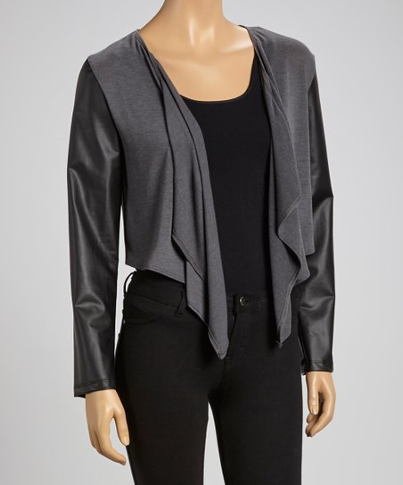 Charcoal Faux-Leather Open Cardigan