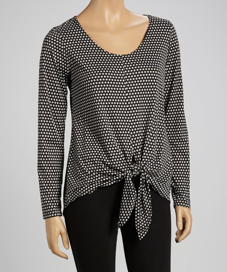 Black & Gray Dot Tie-Waist Top - Women