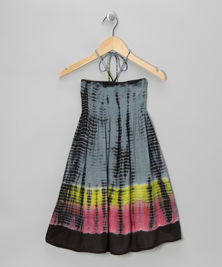 Black Tie-Dye Halter Dress - Toddler & Girls
