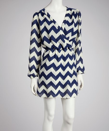 Navy Zigzag Surplice Dress