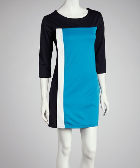 Blue & White Color Block Dress
