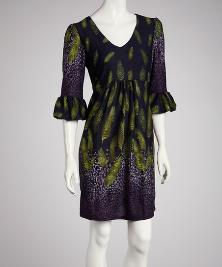 Purple & Green Leaf Ruffle Three-Quarter Sleeve Dress