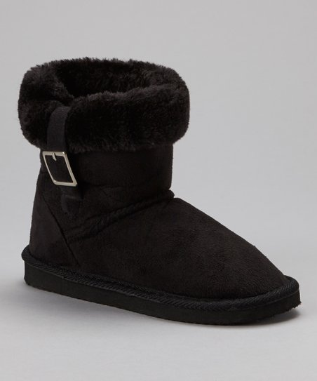 Black Buckle Suede Boot