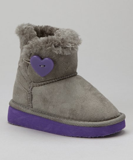 Gray & Purple Heart Fur Boot