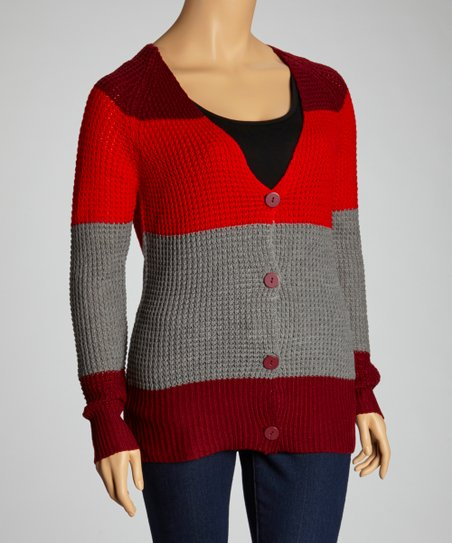 Dark Red Stripe Cardigan - Plus