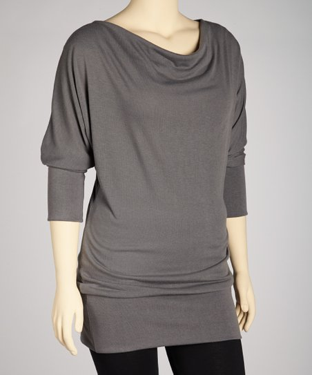 Gray Drape-Neck Tunic - Plus