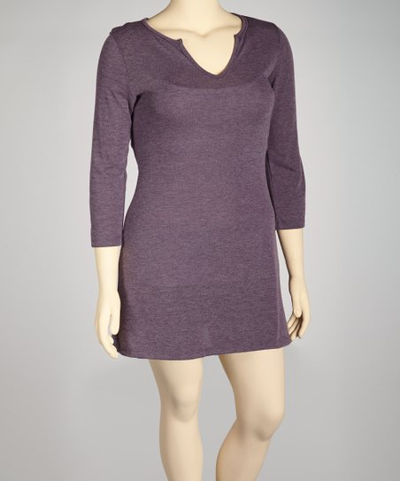 Purple Split V-Neck Tunic - Plus