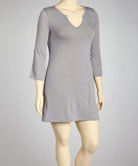 Gray Split V-Neck Tunic - Plus