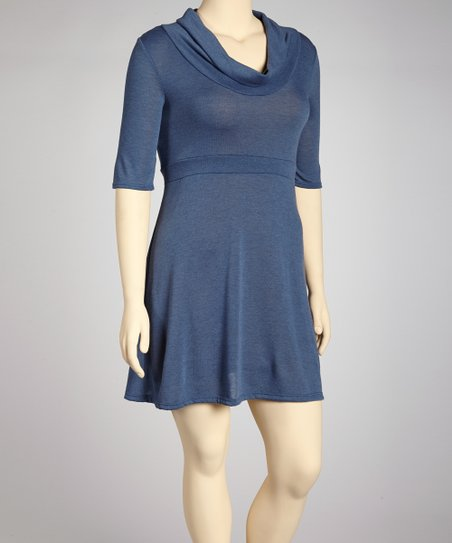 Blue Cowl Neck Dress - Plus
