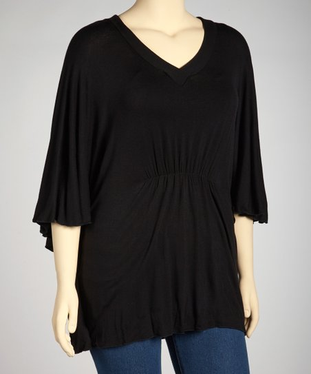 Black Cape-Sleeve Tunic - Plus