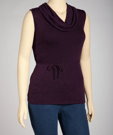 Purple Cowl Neck Sleeveless Top - Plus
