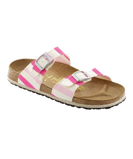 Pink Stripe Canvas Sydney Slide - Women