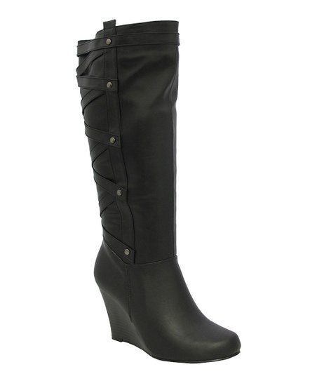 Black Bonita Wedge Boot