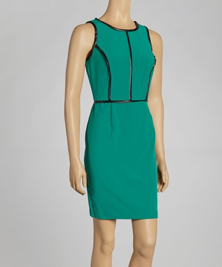 Emerald Contrast Seam Sheath Dress
