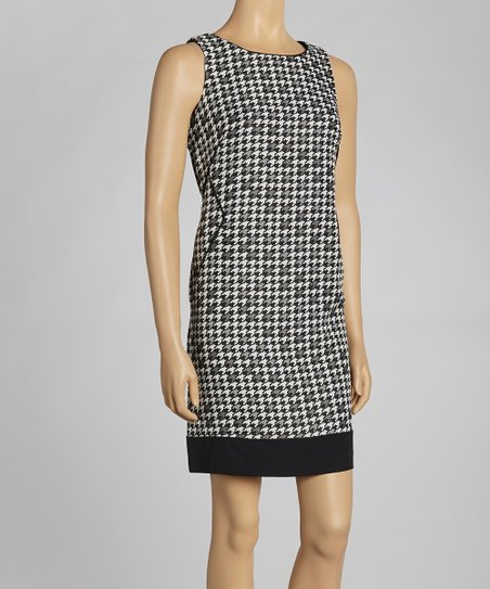 Black & Vanilla Houndstooth Sleeveless Dress