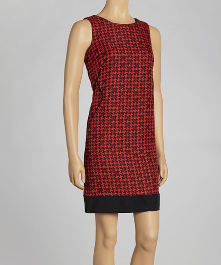 Black & Red Houndstooth Sleeveless Dress