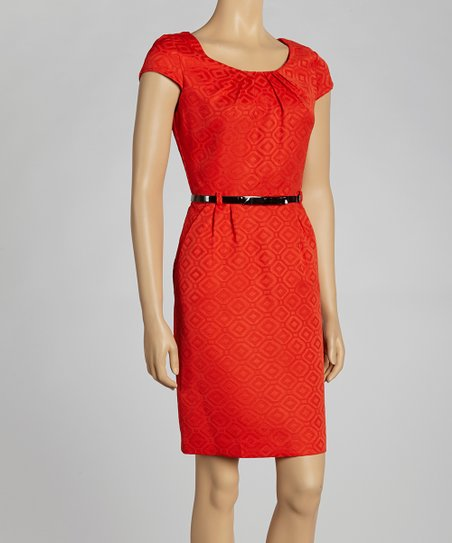Tangerine Diamond Cap-Sleeve Dress