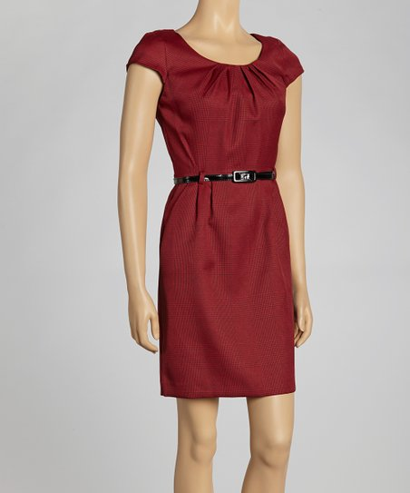 Crimson Cap-Sleeve Dress
