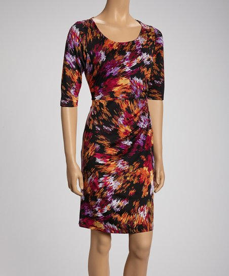 Black & Magenta Brushstroke Short-Sleeve Dress