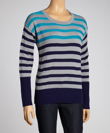 Silver & Navy Stripe Color Block Sweater
