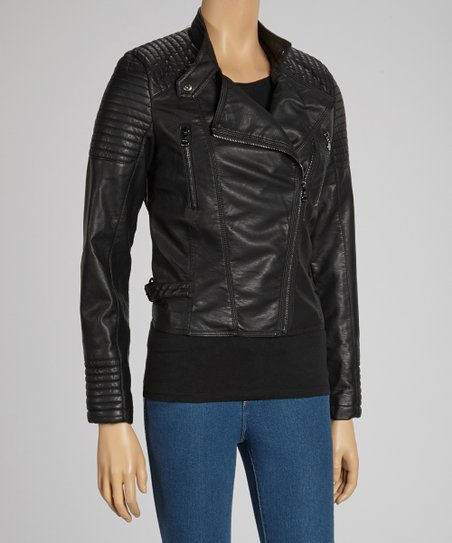 Black Asymmetrical Zip Faux Leather Jacket