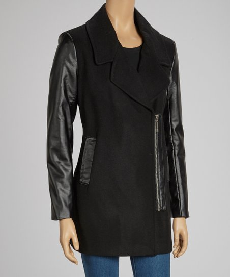 Black Asymmetrical Zip Melton Coat