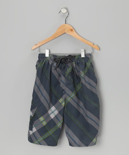 Gray & Lime Plaid Boardshorts - Boys